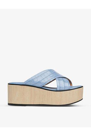 LK Bennett Women Platform Sandals - Sandra cross-front platform leather sandals