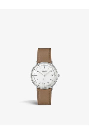 Junghans Men Watches - 27/4107.02 Max Bill stainless-steel and leather automatic watch