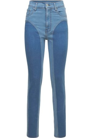 Y / PROJECT Women Trousers - Two Tone Cotton Denim Leggings