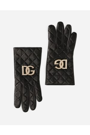 Dolce & Gabbana Hats and Gloves - Quilted nappa leather gloves with DG logo female 6/2