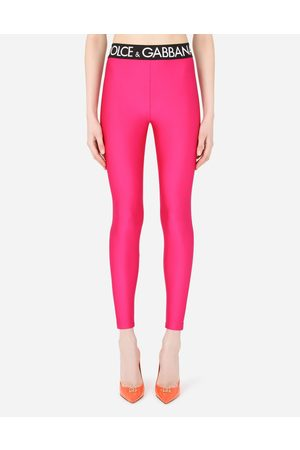 Dolce & Gabbana Trousers and Shorts - Spandex leggings with branded elastic female 36