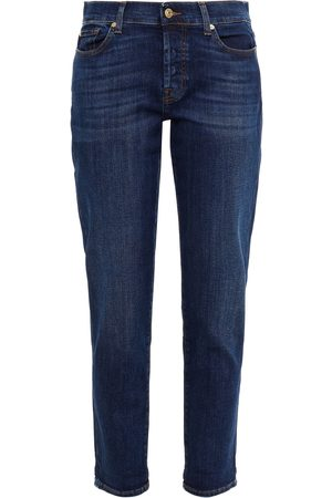 7 for all Mankind Women Slim - Woman Mid-rise Slim-leg Jeans Dark Denim Size 26