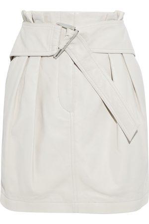 IRO Women Mini Skirts - Woman Humami Belted Leather Mini Skirt Ecru Size 34