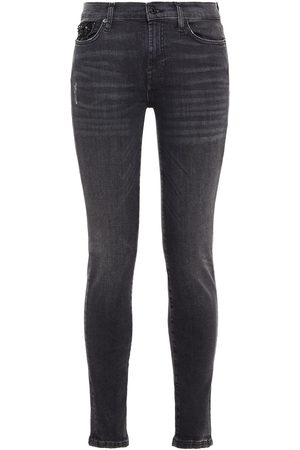 7 FOR ALL MANKIND Women Skinny - Woman Embellished Distressed Mid-rise Skinny Jeans Anthracite Size 23