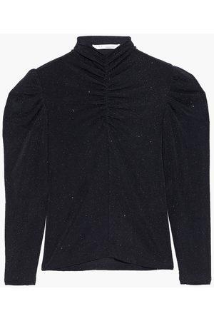 IRO Women Tops - Woman Livanda Ruched Metallic Stretch-knit Top Size 34