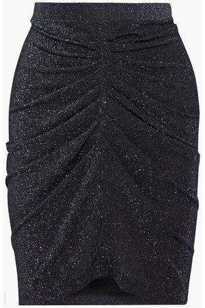IRO Women Mini Skirts - Woman Sargas Ruched Metallic Stretch-knit Mini Skirt Size 34
