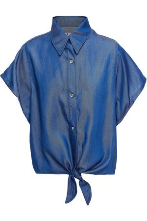 7 FOR ALL MANKIND Women Short Sleeve - Woman Tie-front Lyocell-twill Shirt Mid Denim Size M