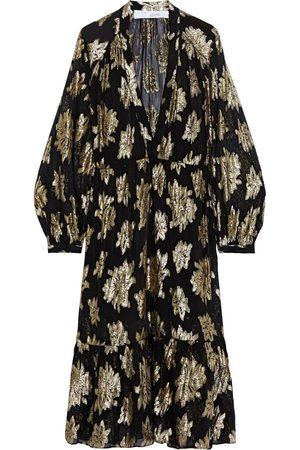 IRO Women Midi Dresses - Woman Katte Metallic Fil Coupé Chiffon Midi Dress Size 36