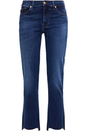 7 FOR ALL MANKIND Women Bootcut - Woman Frayed Mid-rise Kick-flare Jeans Mid Denim Size 29