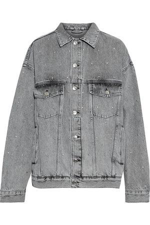 IRO Woman Brava Studded Acid-wash Denim Jacket Gray Size 32