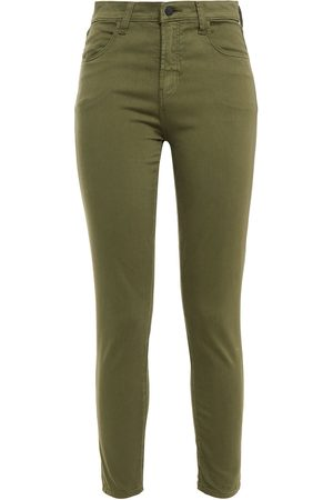 J Brand Women Skinny Trousers - Woman Cropped Cotton-blend Sateen Skinny Pants Leaf Size 23