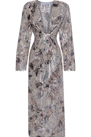 IRO Women Midi Dresses - Woman Rouniea Gathered Printed Fil Coupé Silk-blend Midi Dress Taupe Size 34