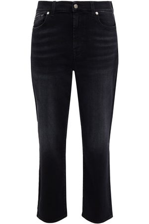 7 for all Mankind Women Straight - Woman Cropped High-rise Straight-leg Jeans Size 24