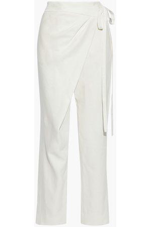 Oscar de la Renta Woman Linen And Ramie-blend Straight-leg Pants Ivory Size 0