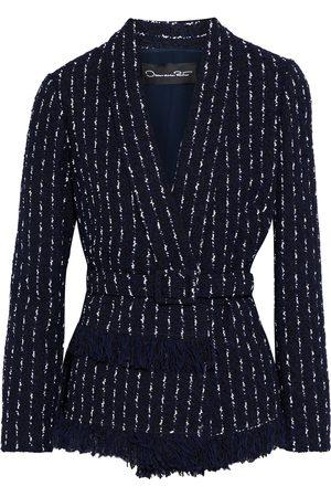 OSCAR DE LA RENTA Woman Belted Frayed Bouclé-tweed Blazer Midnight Size 10