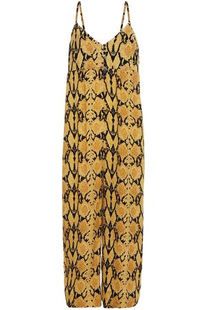 Bash Woman Clever Cropped Snake-print Crepe Wide-leg Jumpsuit Mustard Size 0