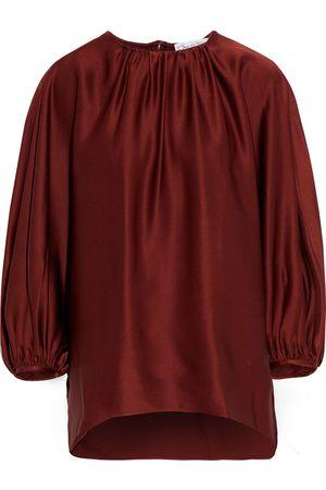 Oscar de la Renta Women Blouses - Woman Gathered Satin-crepe Blouse Brick Size 0