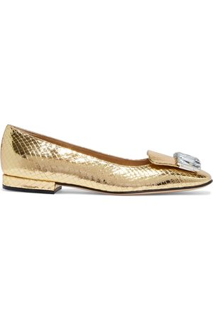 Sergio Rossi Woman Crystal-embellished Metallic Snake-effect Leather Ballet Flats Size 36