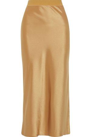 THEORY Woman Satin Midi Skirt Bronze Size L