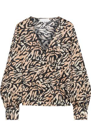 FLEUR DU MAL Women Wrap Tops - Woman Tiger-print Silk-chiffon Wrap Blouse Animal Print Size L