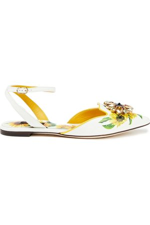 Dolce & Gabbana Women Flat Shoes - Woman Bellucci Embellished Floral-print Leather Point-toe Flats Size 37.5