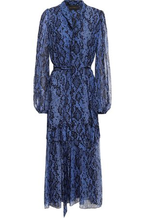 Dundas Women Printed Dresses - Woman Belted Printed Snake-print Silk-voile Maxi Dress Size 36