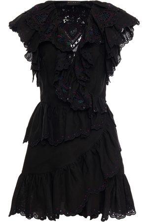 Dundas Women Dresses - Woman Embellished Ruffled Ramie Mini Wrap Dress Size 38