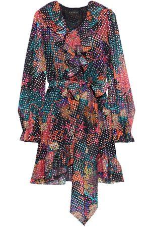 Dundas Woman Belted Printed Fil Coupé Silk-blend Chiffon Mini Dress Multicolor Size 38