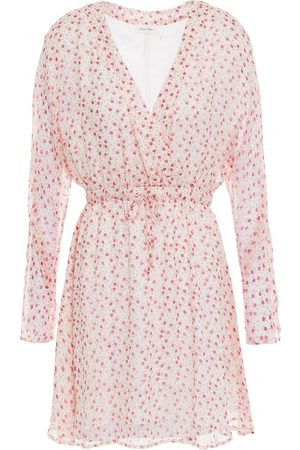 American Vintage Woman Cosawood Gathered Floral-print Voile Mini Dress Off- Size S