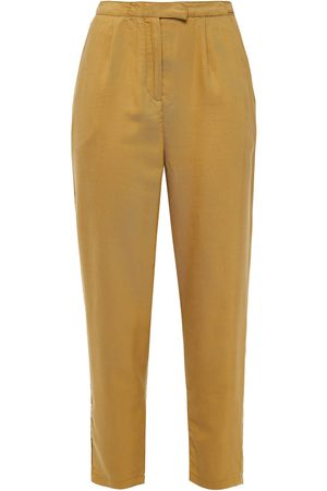 American Vintage Woman Nalastate Cropped Lyocell-twill Tapered Pants Mustard Size S