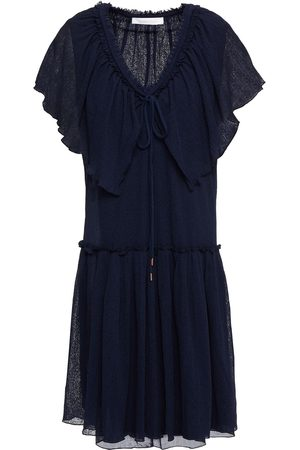 SEE BY CHLOÉ See By Chloé Woman Ruffled Ribbed-knit Mini Dress Navy Size L
