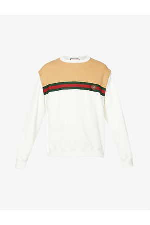 Gucci Men Sweatshirts - Striped-panel relaxed-fit cotton-jersey sweatshirt
