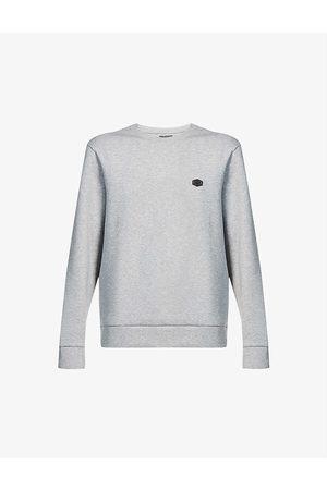 Emporio Armani Men Sweatshirts - Brand-badge cotton-blend jersey sweatshirt