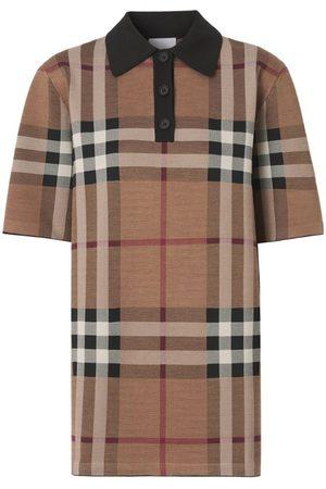 Burberry Silk-Blend Check Jacquard Polo Shirt
