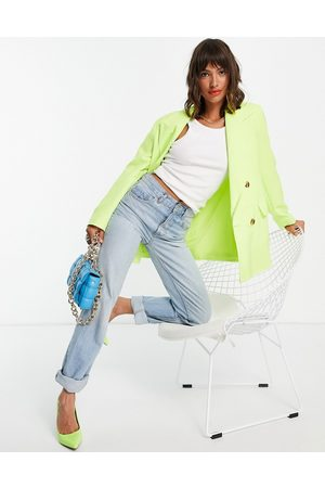 Topshop Double breasted bold shoulder blazer in neon