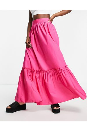 Topshop Co-ord linen tiered maxi skirt in