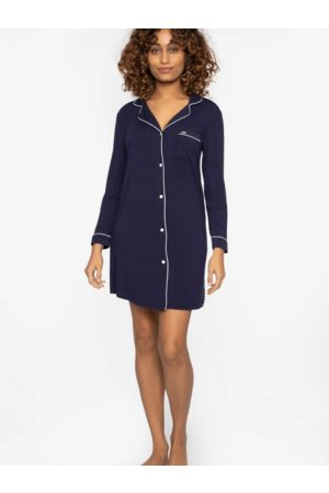 PRETTY YOU Women Nightdresses & Shirts - Bamboo Collection Navy Nightshirt