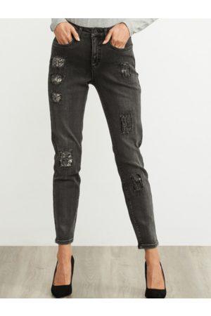 Joseph Ribkoff Straight Leg Distressed Jeans 203072M 3075