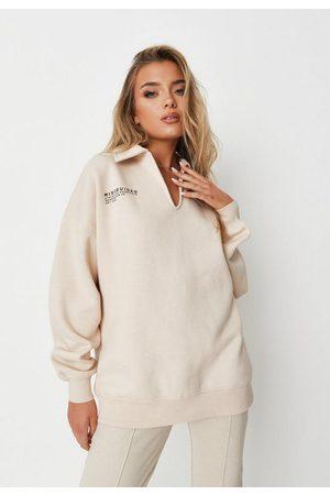 Missguided Women Sweatshirts - Stone Notch Neck Polo Fleeceback Sweatshirt, Stone