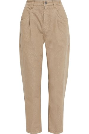 Brunello Cucinelli Woman Cropped Metallic High-rise Tapered Jeans Camel Size 36