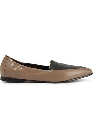 BRUNELLO CUCINELLI Woman Bead-embellished Leather Point-toe Flats Mushroom Size 35