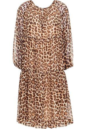 DAY Birger et Mikkelsen Woman Gathered Leopard-print Crepe De Chine Dress Animal Print Size 34