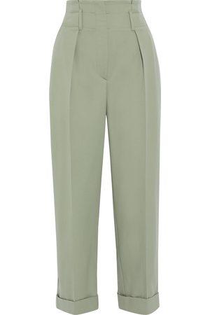 Brunello Cucinelli Woman Cropped Pleated Wool-twill Straight-leg Pants Sage Size 38
