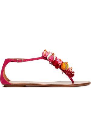 Aquazzura Woman Tropicana Embellished Suede Sandals Fuchsia Size 40