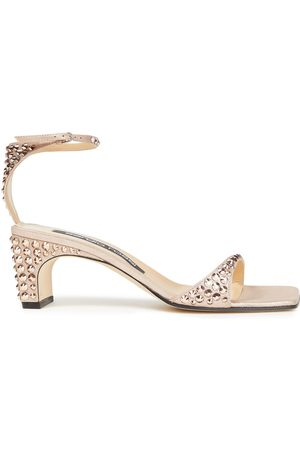 Sergio Rossi Woman Crystal-embellished Metallic Suede Sandals Rose Size 36