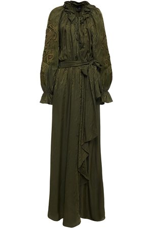 Dundas Women Maxi Dresses - Woman Belted Broderie Anglaise-trimmed Satin-jacquard Maxi Wrap Dress Army Size 36