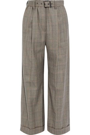 BRUNELLO CUCINELLI Woman Cropped Belted Prince Of Wales Checked Wool Wide-leg Pants Taupe Size 36