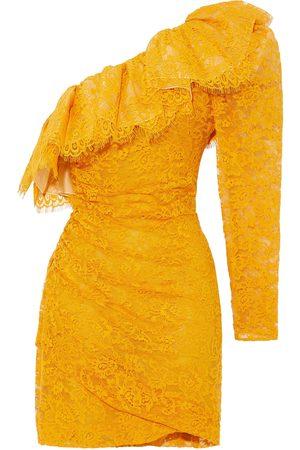 Dundas Women Dresses - Woman One-shoulder Ruffled Cotton-blend Corded Lace Mini Dress Marigold Size 40