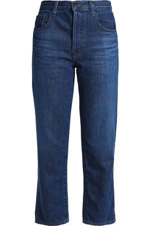 J Brand Women Straight - Woman Wynne Cropped High-rise Straight-leg Jeans Dark Denim Size 30