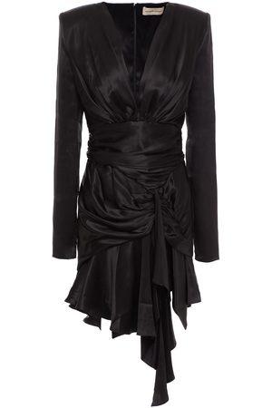 ALEXANDRE VAUTHIER Women Asymmetrical Dresses - Woman Asymmetric Ruched Stretch-silk Satin Mini Dress Size 38